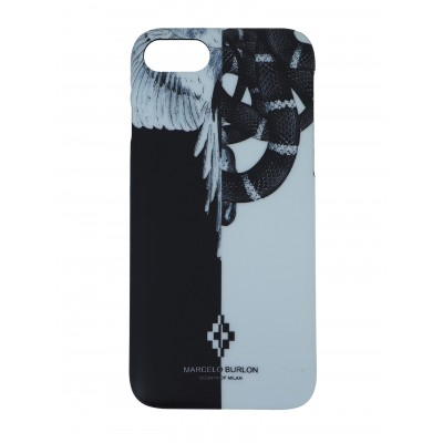 COVER PER IPHONE 8 7 6 6S | NERO BIANCO | MARCELO BURLON | M8-SNAKEWING