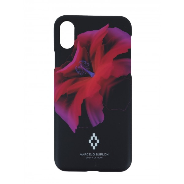 COVER PER IPHONE X | NERO ROSSO | MARCELO BURLON | MX-REDFLOWER