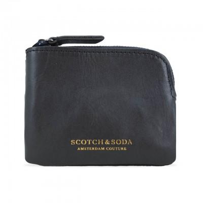 SCOTCH & SODA | PORTAMONETE IN PELLE E NYLON COLORE NERO | 145636
