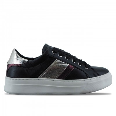 CRIME LONDON | SONIK BLACK LEATHER WOMEN'S SNEAKER SHOES | 25220AA1