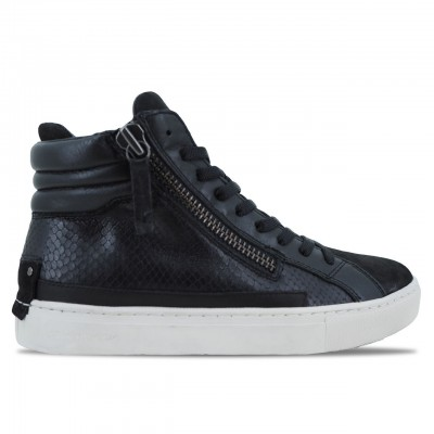 CRIME LONDON | SCARPE SNEAKER ALTE DA DONNA IN PELLE NERO | 25146AA1