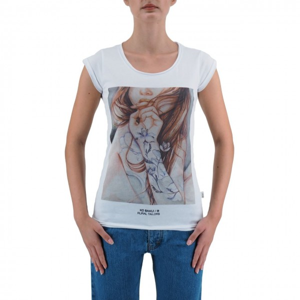 KO SAMUI | WOMEN'S T-SHIRT WHITE PURPLE INK | KSU_TB439PURPLEINK_WHT