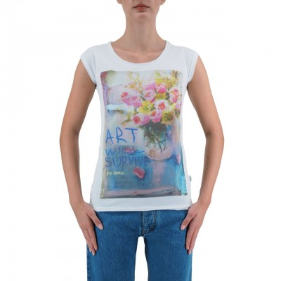 KO SAMUI | T-SHIRT DA DONNA BIANCO SURVIVE | KSU_TBC424SURVIVE_WHT