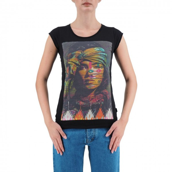 KO SAMUI | T-SHIRT INDIAN DA DONNA NERO | KSU_TBC423INDIAN_BLK