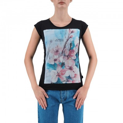 KO SAMUI | T-SHIRT DA DONNA NERO | KSU_TBC426WATERBLUE_BLK
