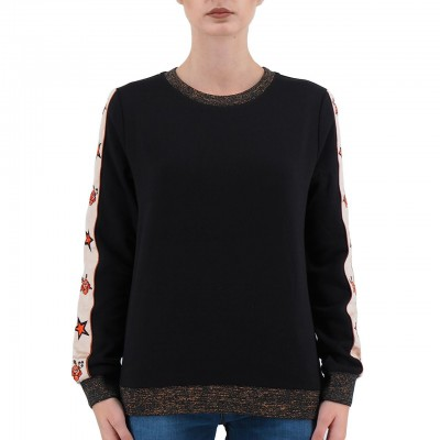 SCOTCH & SODA | FELPA DA DONNA CON BANDA LATERALE COLORE NERO | 146391