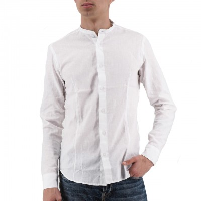 Daniele Alessandrini | Camicia Collo Coreano Slim Fit Bianco | DAL_R12143902_2