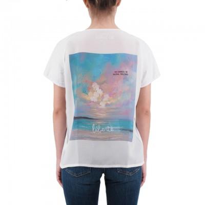 Ko Samui | Back Silk T-Shirt Bianco | KSU_TZ 850 FREEDOM_WHT