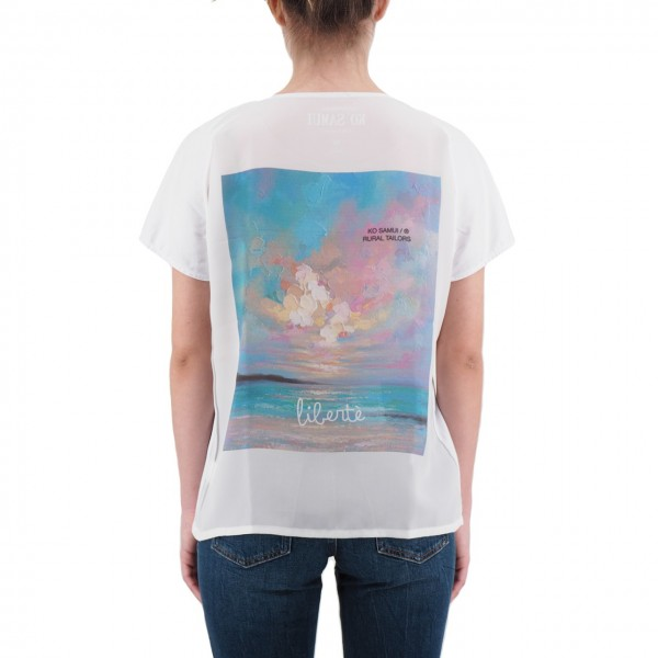 Ko Samui | Back Silk T-Shirt Bianco | KSU_TZ 850 FREEDOM_WHT
