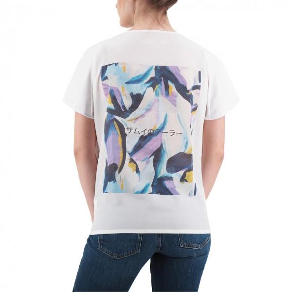 Ko Samui | Back Silk T-Shirt Bianco | KSU_TZ 849 VIOLETS_WHT