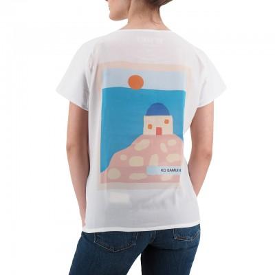 Ko Samui | Back Silk T-Shirt Bianco | KSU_TZ 847 GREECE_WHT