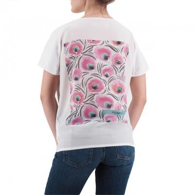 Ko Samui | Back Silk T-Shirt Bianco | KSU_TZ 845 PEACOCK_WHT