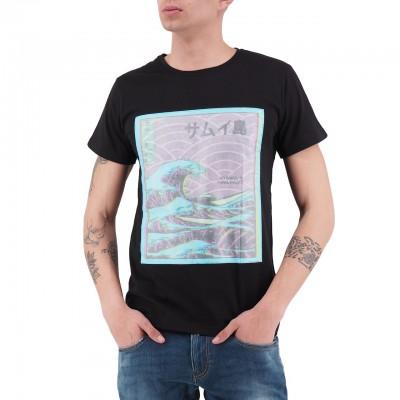 Ko Samui   The Great Wave Rice Paper T-Shirt Nero   KSU_TTP 829 FLUO WAVE_BLK