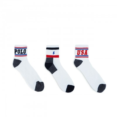 POLO RALPH LAUREN | ATHLETIC ANKLE 3 PACK BIANCO | RLU_449742756001
