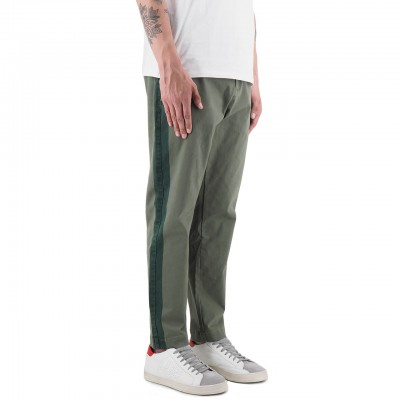 Scotch & Soda | Chino Con Righe Laterali Tono Su Tono Verde | S&S_148786_0115