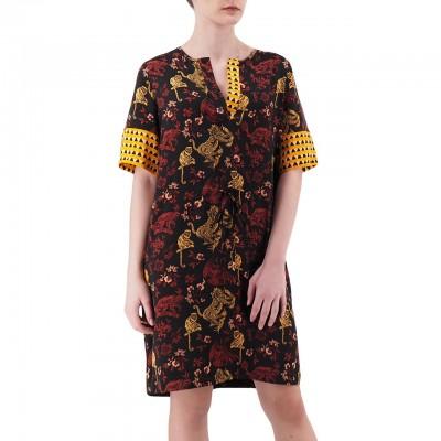 Scotch & Soda | Mixed Print Dress With Waist Drawcord Nero | S&S_149839_17