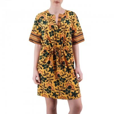 Scotch & Soda | Mixed Print Dress With Waist Drawcord Arancio | S&S_149839_91