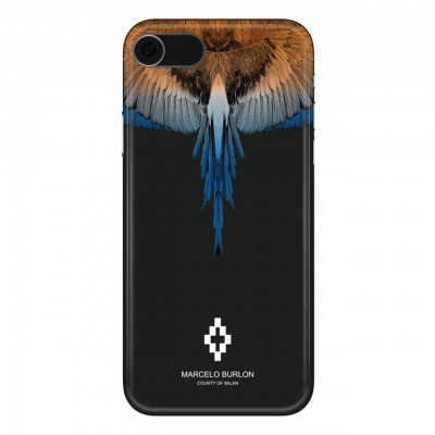 Marcelo Burlon | Wings Orange Blue Cover iPhone 8 7 6 6s Nero | MBU_M8-WINGSOB