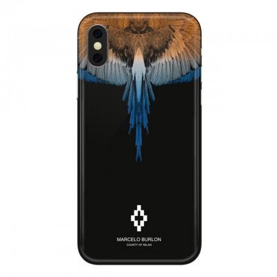Marcelo Burlon   Wings Orange Blue Cover iPhone X Nero   MBU_MX-WINGSOB