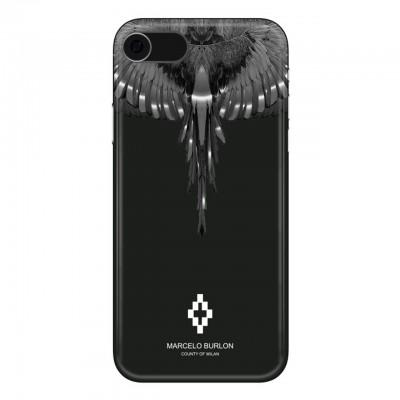 Marcelo Burlon | Wings Silver Cover iPhone 8 7 6 6s Nero | MBU_M8-WINGSS