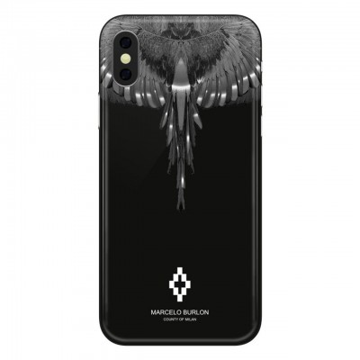 Marcelo Burlon   Wings Silver Cover iPhone X Nero   MBU_MX-WINGSS