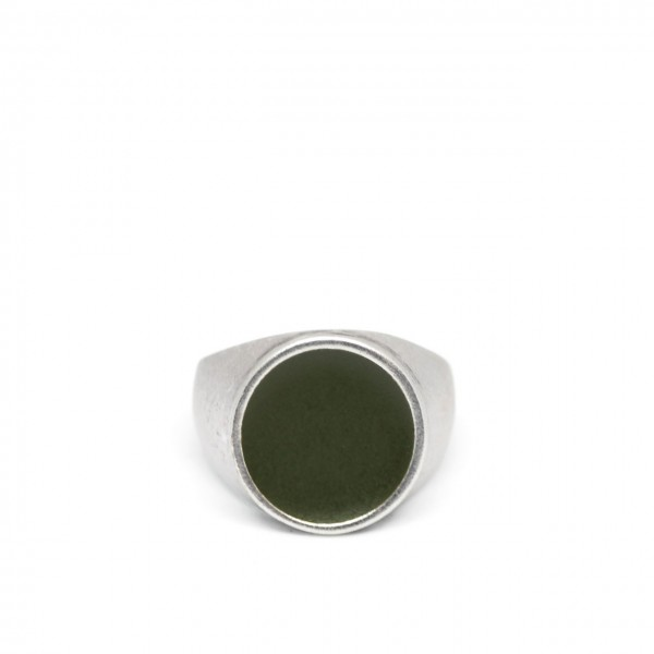 Double U Frenk | Circle Silver & Green Ring Argento | DUF_CIRCLE SILVER&GREEN