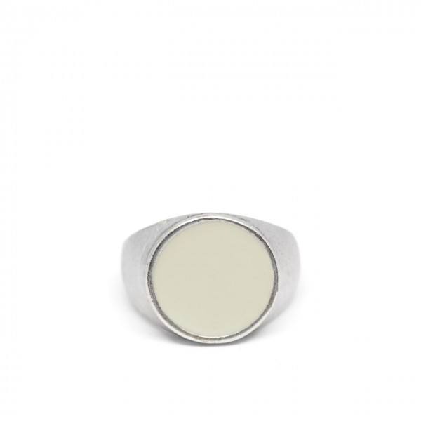 Double U Frenk | Circle Silver & White Ring Argento | DUF_CIRCLE SILVER&WHITE