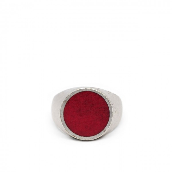 Double U Frenk | Circle Silver & Red Ring Argento | DUF_CIRCLE SILVER&RED