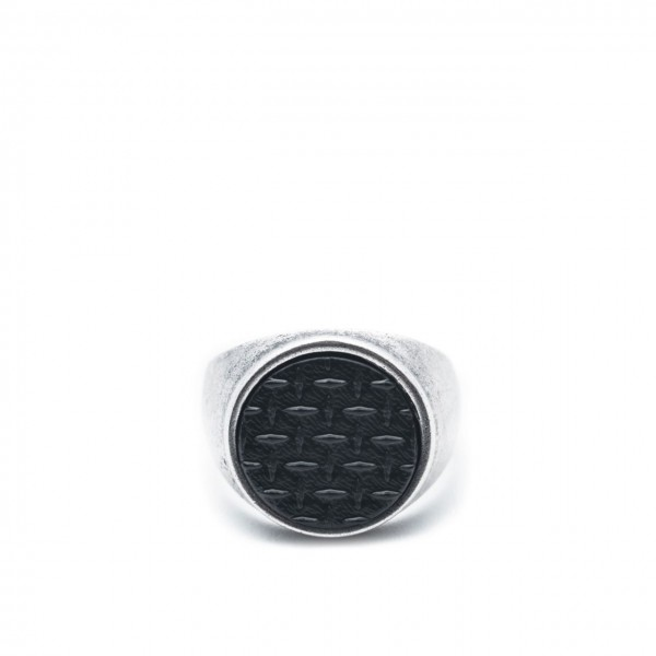 Double U Frenk | Circle Texture Silver&Black Ring Argento | DUF_CIRCLE GRID S&B