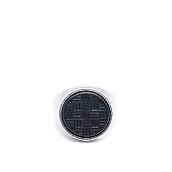 Double U Frenk | Circle Texture Silver&Black Ring Argento | DUF_CIRCLE TEXTURE S&B