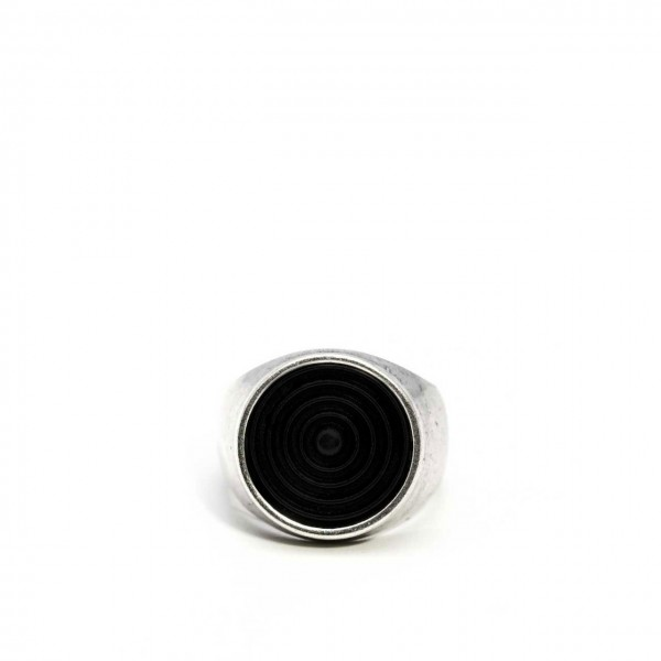 Double U Frenk | Circle Spiral Silver & Black Ring Argento | DUF_CIRCLE SPIRAL S&B