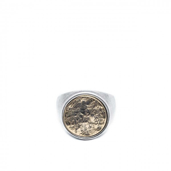 Double U Frenk | Circle Rough Silver & Gold Ring Argento | DUF_CIRCLE ROUGH S&G