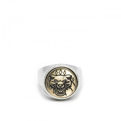 Double U Frenk | Circle Tiger Silver & Gold Ring Argento | DUF_CIRCLE TIGER S&G