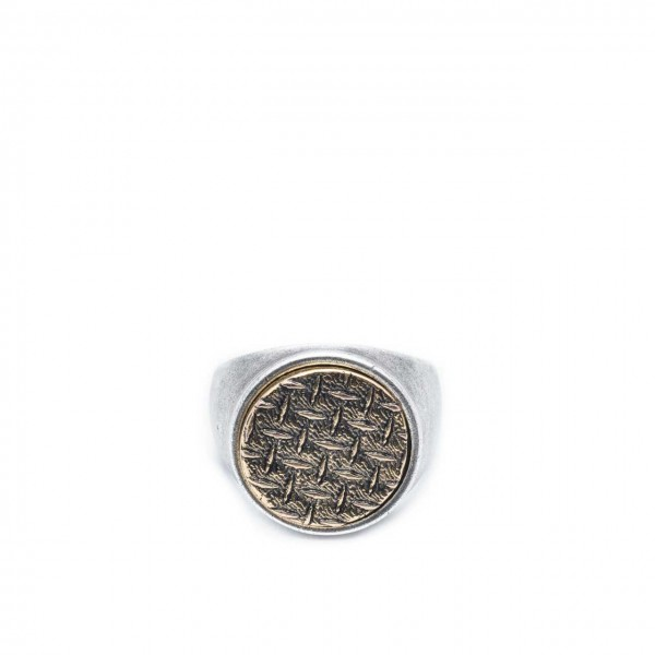 Double U Frenk | Circle Grid Silver & Gold Ring Argento | DUF_CIRCLE GRID S&G