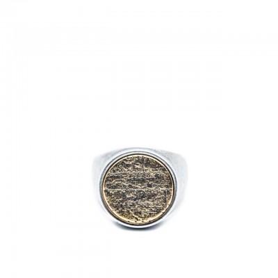 Double U Frenk | Circle Wall Brick Silver & Gold Ring Argento | DUF_CIRCLE WALL BRICK S&G