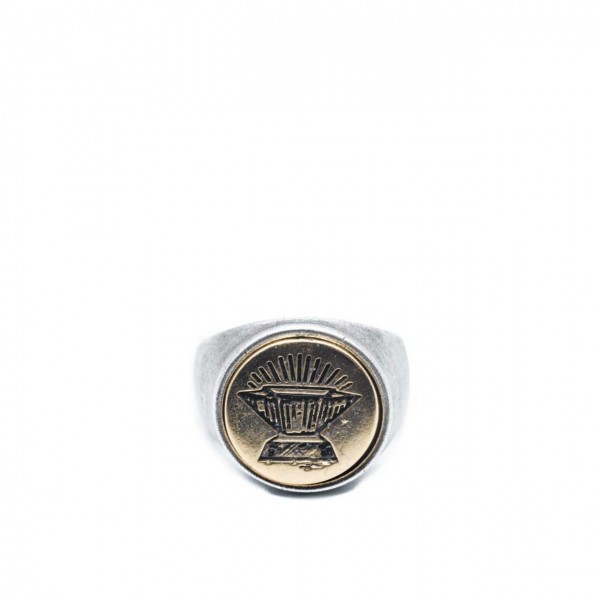 Double U Frenk | Circle Anvil Silver & Gold Ring Argento | DUF_CIRCLE ANVIL S&G