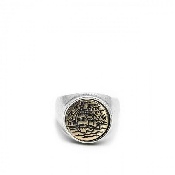 Double U Frenk | Circle Sailor Silver & Gold Ring Argento | DUF_CIRCLE SAILOR S&G