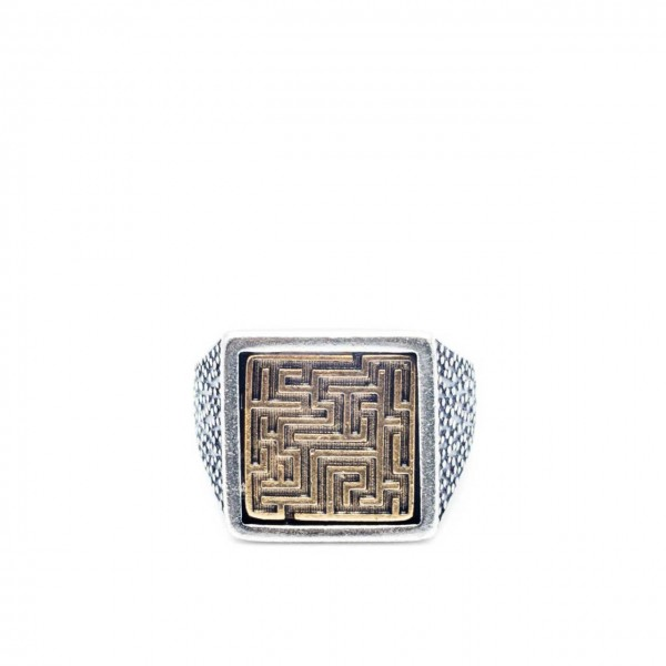 Double U Frenk | Square Labyrinth Silver & Gold Ring Argento | DUF_SQUARE LABYRINTH S&G