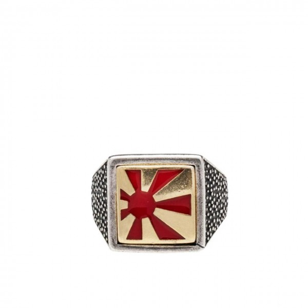 Double U Frenk | Square Sun Silver & Gold & Red Ring Argento | DUF_SQUARE SUN S&G&R
