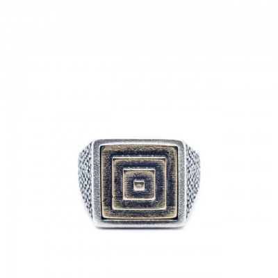 Double U Frenk | Square Pyramid Silver & Gold Ring Argento | DUF_SQUARE PYRAMID S&G