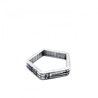 Double U Frenk | Shapes Pentagon Ring Argento | DUF_SHAPES PENTAGON