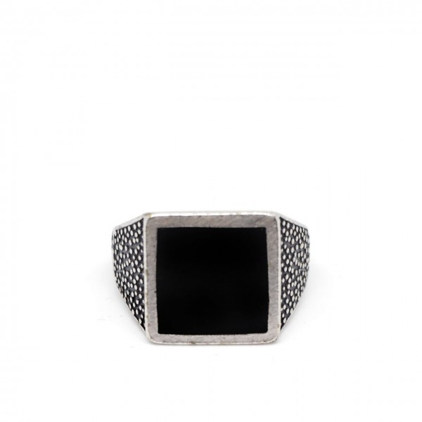 Double U Frenk   Square Black Ring Argento   DUF_SQUARE BLACK