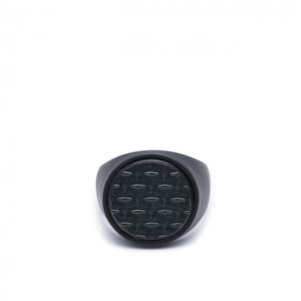 Double U Frenk | Circle Texture Total Black Ring Nero | DUF_CIRCLE GRID TB