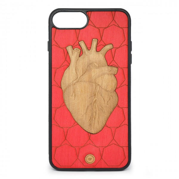 Recreate | Cover Wood Heart iPhone 8+ 7+ 6s+ 6+ Rosso | RCA_HEART8+7+6+6S+_RED-BR
