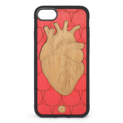 Recreate | Cover Wood Heart iPhone 8 7 Rosso | RCA_HEART8-7_RED-BR
