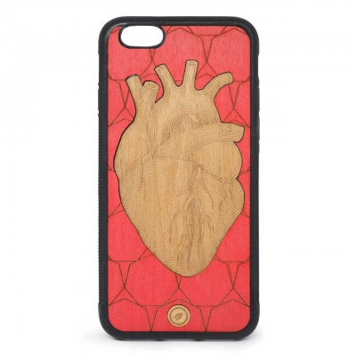 Recreate | Cover Wood Heart iPhone 6s 6 Rosso | RCA_HEART6-6S_RED-BR