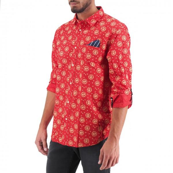 Scotch & Soda   Klassisches Allover bedrucktes Taschenhemd Rot   S&S_152183 0218