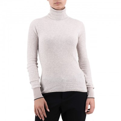 Scotch & Soda | Fine Rib Knitted Turtle Neck Beige | S&S_153171 7D