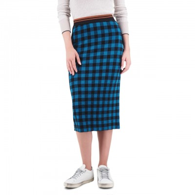 Scotch & Soda | Knitted Skirt In Check Pattern Blu | S&S_152580 0601