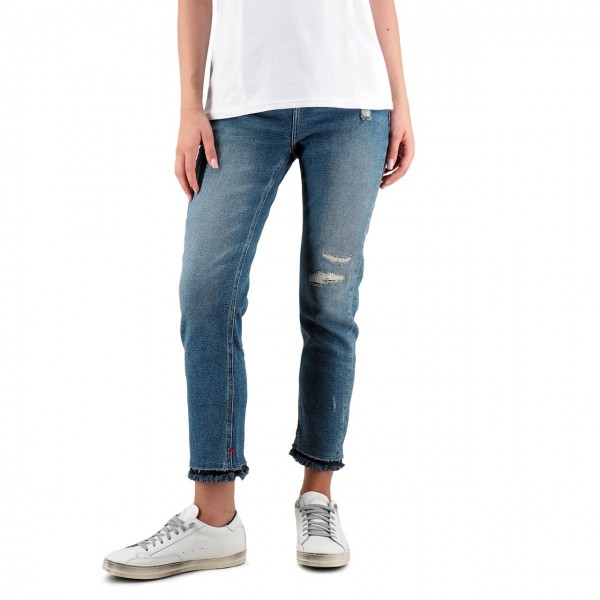 Scotch & Soda | High Five Cropped Seahorse Repair Jeans Blu | S&S_150601 2992